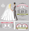 wedding invitation setretro cartoon bride and vector image