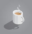 white cup of coffee on gray background isometric vector image vector image