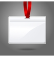 Blank realistic horizontal badge holder with vector image