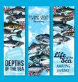 sea fishing and seafood banners vector image