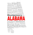 alabama state word cloud vector image