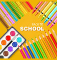 back to school card with colorful pencils markers vector image