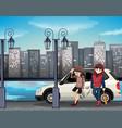bad street kids scene vector image vector image
