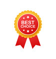 best choice realistic red fabric award ribbon vector image