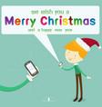 boy wearing santa hat send message merry vector image vector image