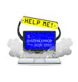 broken laptop error screen with help me banner vector image vector image