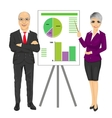 business team with graphs on board vector image vector image