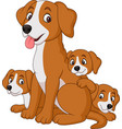 cartoon mother dog with her cute puppies vector image vector image