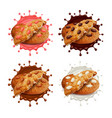 chocolate chip cookies in milk and chocolate vector image vector image