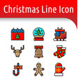 christmas line color icon vector image