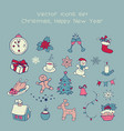 christmas vintage icons vector image