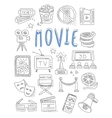 Cinema doodles set of hand drawn vector image vector image