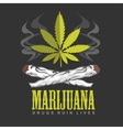 Cross drug and marijuana emblem vector image