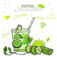 Detox cucumber smoothie vector image