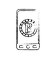 figure smartphone with bitcoin currency symbol vector image vector image