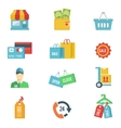 Flat design shopping icons vector image