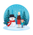 grandmother and grandson with snowman in snowscape vector image