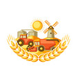 harvesting background combine harvester tractor vector image