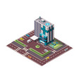 isometric hospital or ambulance building mockup vector image