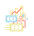 linear of color graph and money on white bac vector image