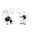 lion and man are talking black outline vector image vector image