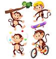 little monkeys doing different actions