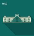 louvre in paris flat icon with long shadow vector image vector image
