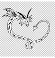 love heart dragons sketch tattoo vector image