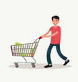 man is carrying a grocery cart full groceries vector image vector image