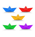 paper boat with shadow color set vector image vector image