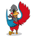 parrot in a pirate hat and eye patch cartoon for vector image