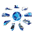 Passenger and cargo transportations around the wor vector image vector image