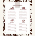 processed meat - hand drawn template menu vector image vector image