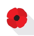 Red Poppy Flower Flat Icon vector image vector image
