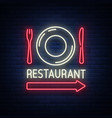 restaurant logo sign emblem in neon style a vector image vector image