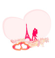 Romantic couple silhouette in Paris kissing near vector image vector image