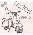 scooter retro hand drawn design card vector image