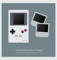 set of retro game player and accessories vector image vector image