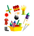 set pyrotechnics and fireworks rocket and flapper vector image