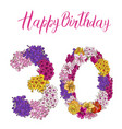 thirty digit made of different flowers isolated vector image