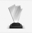 transparent trophies realistic 3d championship vector image