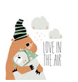 valentine love designs with cute bears hugging on vector image vector image