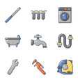 water head icons set flat style vector image vector image