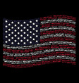 waving united states flag stylization of military vector image