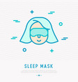 woman in sleep mask thin line icon vector image vector image