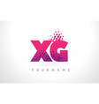 xg x g letter logo with pink purple color and vector image