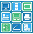 Set of 9 icons with computers vector image