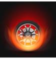 Car Wheel on Fire vector image