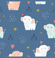 adorable little elephant seamless pattern vector image