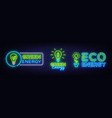 big collection neon signs green energy neon logos vector image vector image